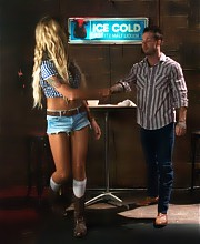 California Dream Barbie with a COCK - hot, toned, blonde, blue eyes Dom who throat fucks, ass fucks & pops all over a manly stud in our cowboy bar
